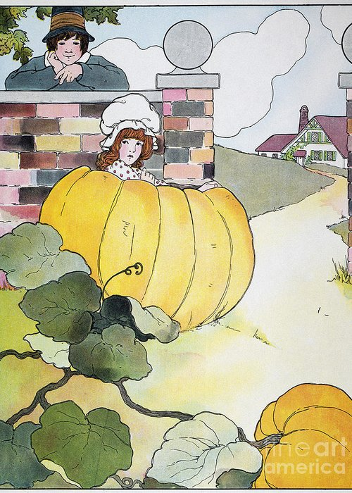 1916 Greeting Card featuring the photograph Mother Goose: Pumpkin by Granger
