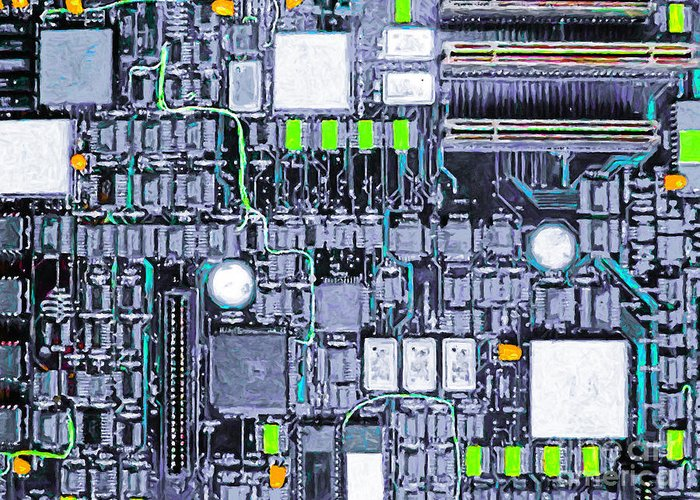 Circuit Board Greeting Card featuring the photograph Motherboard Abstract 20130716 P38 by Wingsdomain Art and Photography