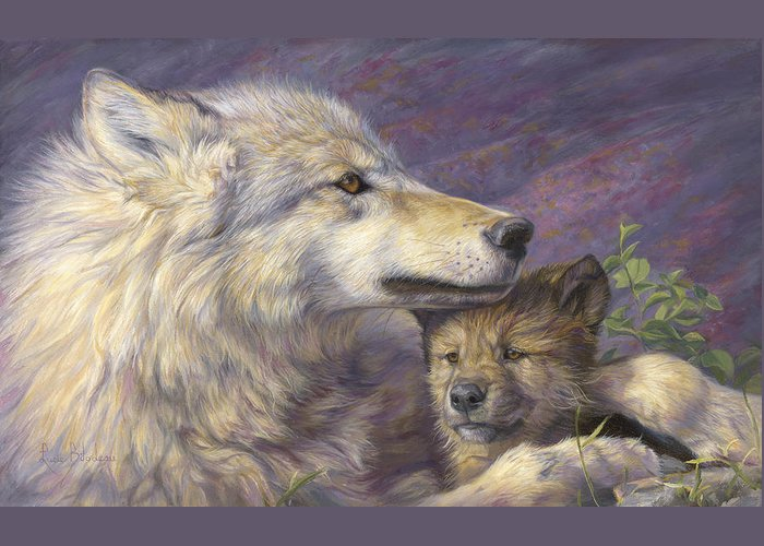 Wolf Greeting Card featuring the painting Mother's Love by Lucie Bilodeau