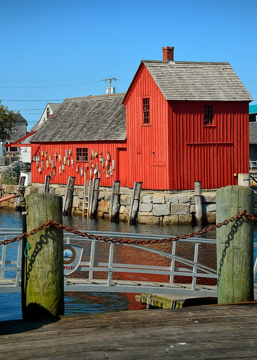 Rockport Greeting Card featuring the photograph Motif Number One Rockport Lobster Shack Maritime by Jon Holiday