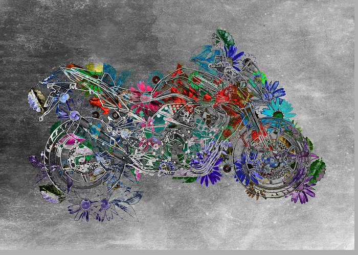 Moto Digital Art Greeting Card featuring the digital art Moto Art Floral Sp01bb by Variance Collections