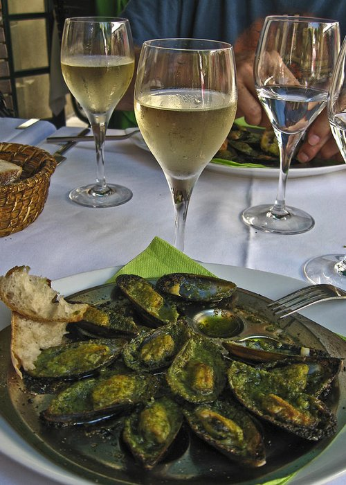 Food Greeting Card featuring the photograph Moules And Chardonnay by Allen Sheffield
