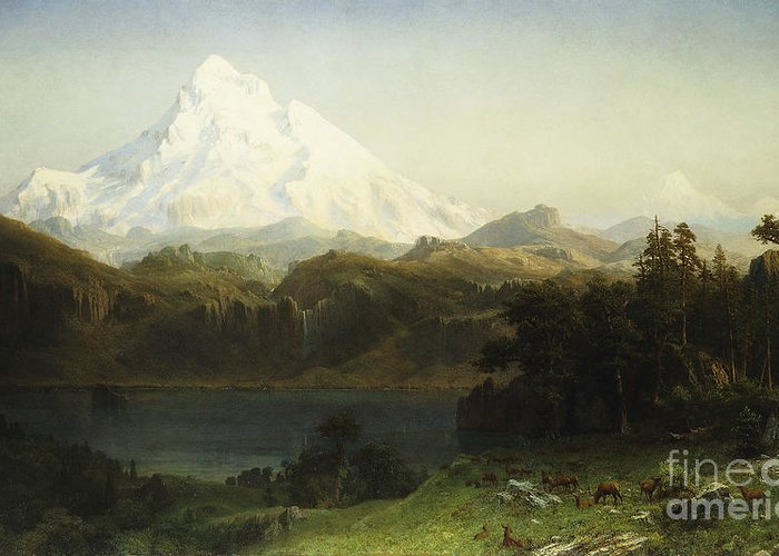 Mountain Greeting Card featuring the painting Mount Hood In Oregon by Albert Bierstadt