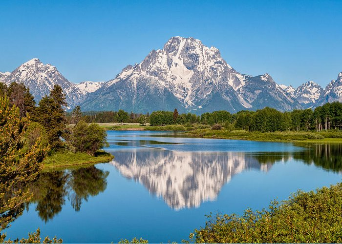 Mount Moran On Snake River At Oxbow Bend Grand Teton National Park Greeting Card featuring the photograph Mount Moran On Snake River Landscape by Brian Harig