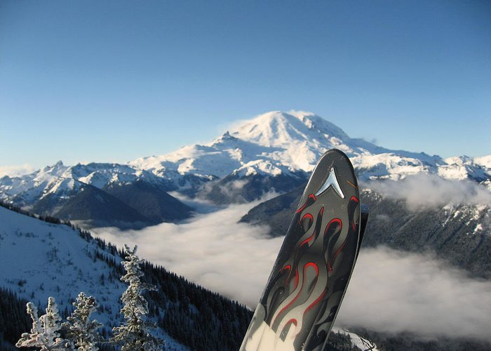 Landscapes Greeting Card featuring the photograph Mount Rainier Has Skis by Kym Backland