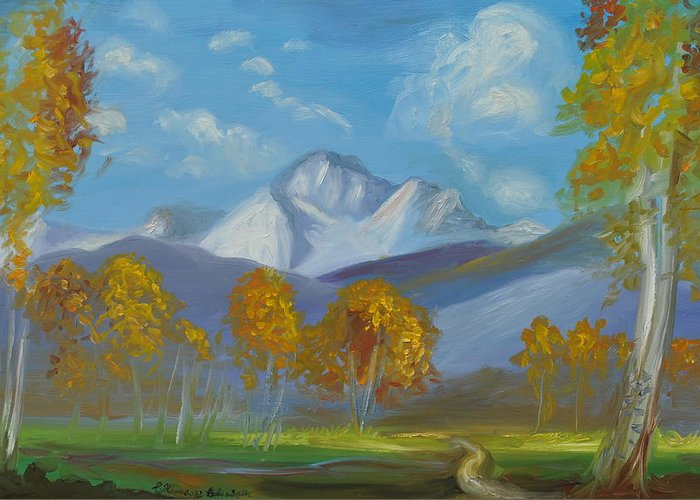 Mount Sneffels Greeting Card featuring the painting Mount Sneffels San Juan Mountains Colorado by Patricia Kimsey Bollinger
