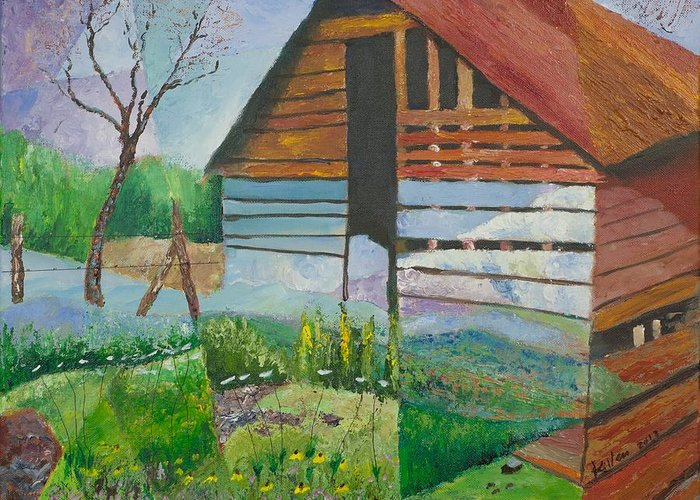 Surrealist Greeting Card featuring the painting Mountain Barn by William Killen