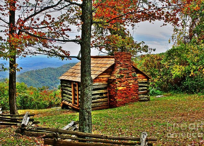 Cabin Greeting Card featuring the photograph Mountain Cabin 1 by Dan Stone