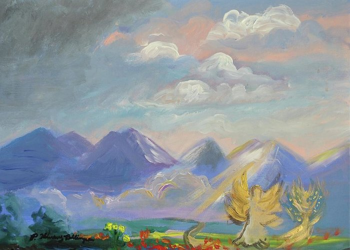 Acrylic Greeting Card featuring the painting Mountain Dream by Patricia Kimsey Bollinger