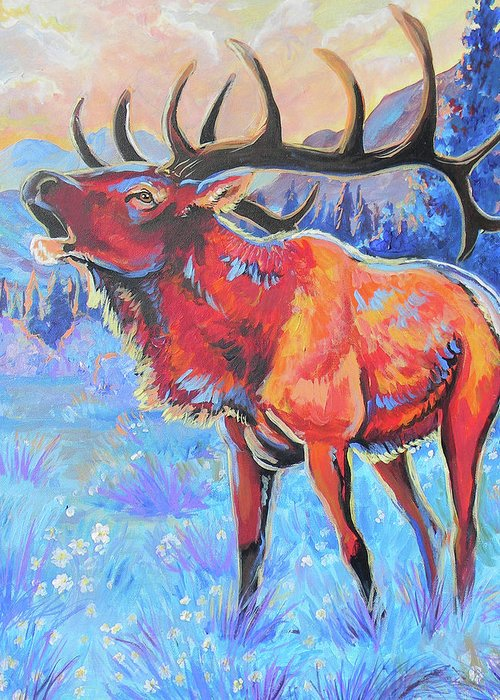 Elk Greeting Card featuring the painting Mountain Lord by Jenn Cunningham