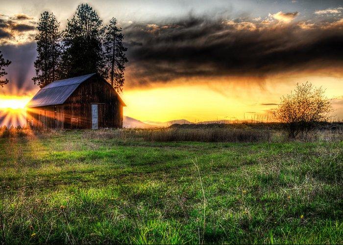 Barn Greeting Card featuring the photograph Mountain Sun Behind Barn by Derek Haller