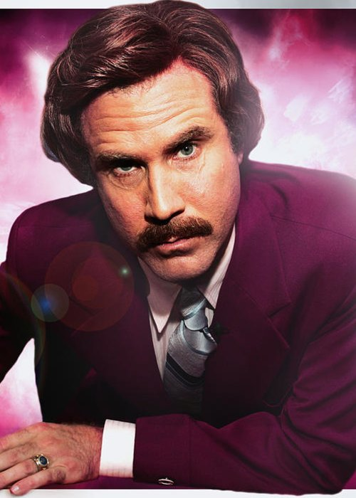 Mr. Ron Burgundy Greeting Card featuring the photograph Mr. Ron Mr. Ron Burgundy From Anchorman by Nicholas Grunas