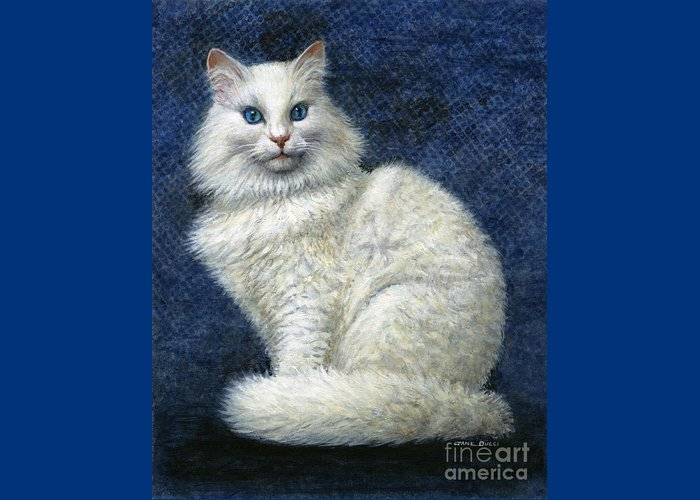 Cat Greeting Card featuring the painting Mrs. Moon by Jane Bucci