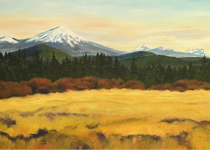 Landscapes Greeting Card featuring the painting Mt. Bachelor by Donna Drake