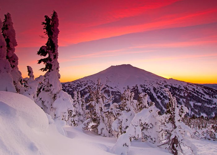 Mountain Peak Landscape Greeting Card featuring the photograph Mt. Bachelor Winter Twilight by Kevin Desrosiers