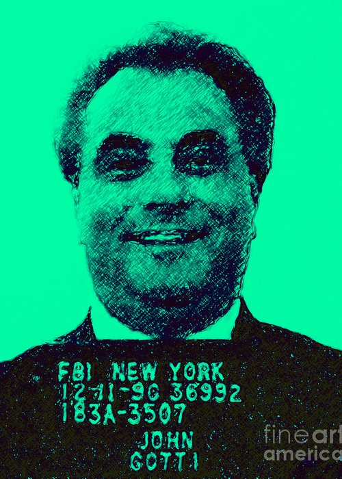 Celebrity Greeting Card featuring the photograph Mugshot John Gotti P128 by Wingsdomain Art and Photography