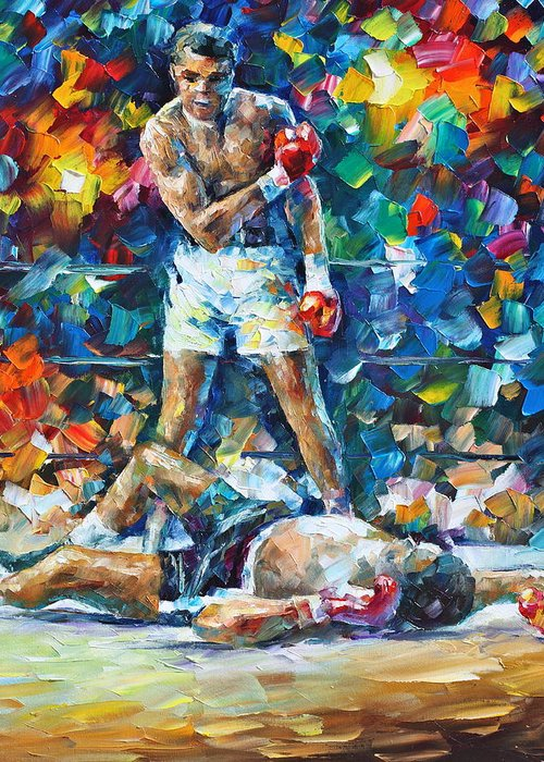 Box Greeting Card featuring the painting Muhammad Ali by Leonid Afremov