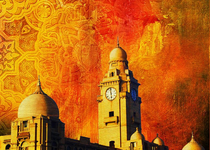 Pakistan Greeting Card featuring the painting Municipal Corporation Karachi by Catf