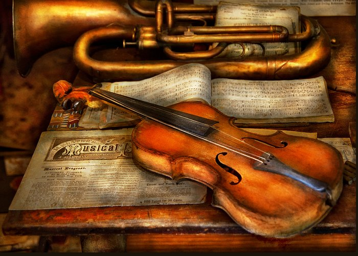 Suburbanscenes Greeting Card featuring the photograph Music - Violin - Played It's Last Song by Mike Savad