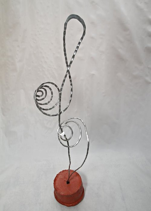 Wire Art Greeting Card featuring the sculpture Musical Magic by Vincent Felice