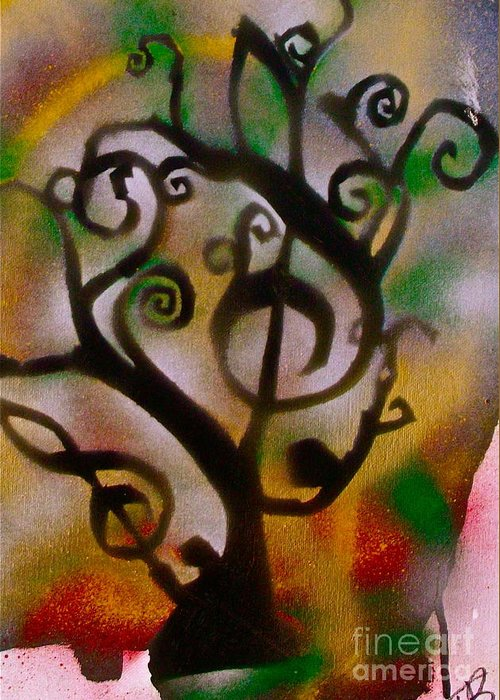 Graffiti Greeting Card featuring the painting Musical Tree Golden by Tony B Conscious