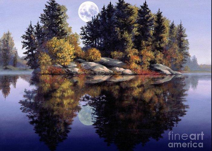 Muskoka Greeting Card featuring the painting Muskoka Moon by Michael Swanson