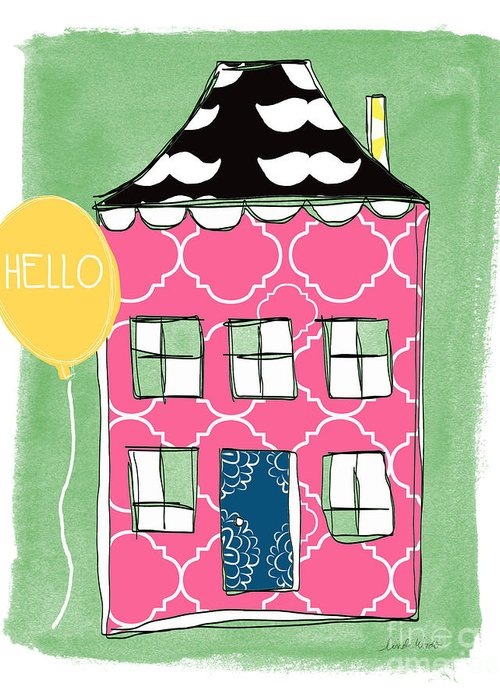 Mustache Greeting Card featuring the mixed media Mustache House by Linda Woods