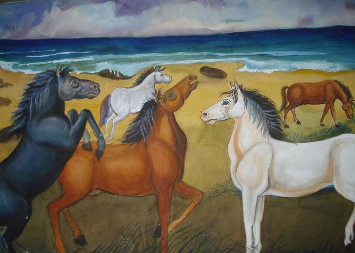 Mustang Greeting Card featuring the painting Mustang Mates by Prasenjit Dhar