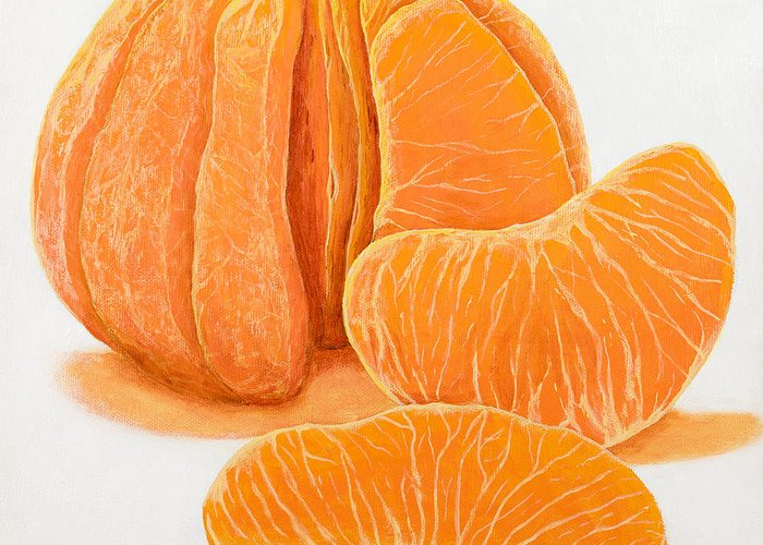 Tangerine Greeting Card featuring the painting My Clementine by Garry McMichael