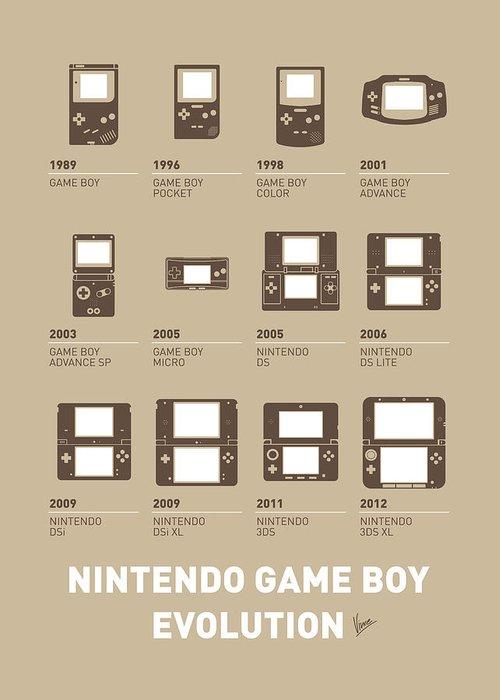 Minimal Greeting Card featuring the digital art My Evolution Nintendo Game Boy Minimal Poster by Chungkong Art