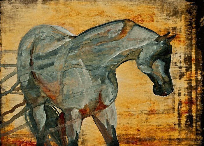Horses Greeting Card featuring the painting My Final Notice by Jani Freimann