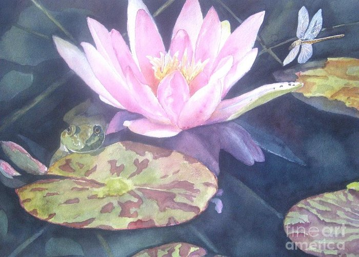 Waterlily Painting Greeting Card featuring the painting My Handsome Prince by Patricia Pushaw