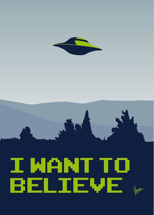 Classic Greeting Card featuring the digital art My I Want To Believe Minimal Poster by Chungkong Art