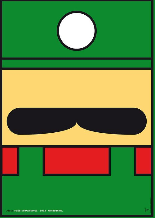 Mario Greeting Card featuring the digital art My Mariobros Fig 02 Minimal Poster by Chungkong Art