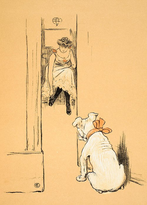Dog Greeting Card featuring the painting My Mistress Dressing by Cecil Charles Windsor Aldin