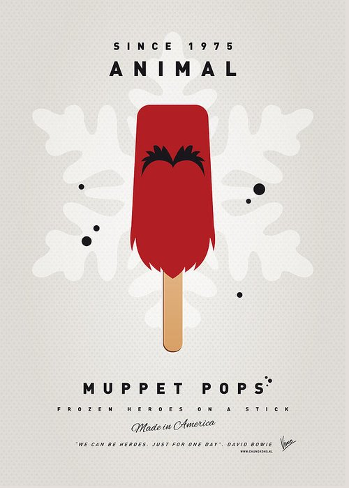 Muppets Greeting Card featuring the digital art My Muppet Ice Pop - Animal by Chungkong Art