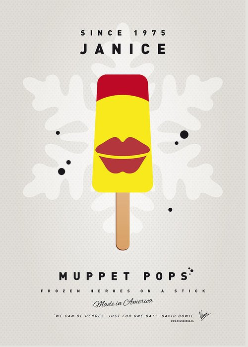 Muppets Greeting Card featuring the digital art My Muppet Ice Pop - Janice by Chungkong Art