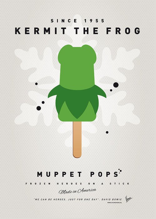 Muppets Greeting Card featuring the digital art My Muppet Ice Pop - Kermit by Chungkong Art