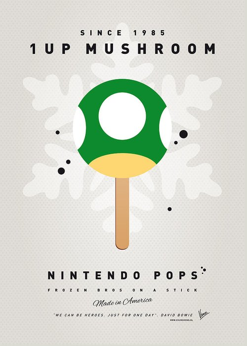 1 Up Greeting Card featuring the digital art My Nintendo Ice Pop - 1 Up Mushroom by Chungkong Art
