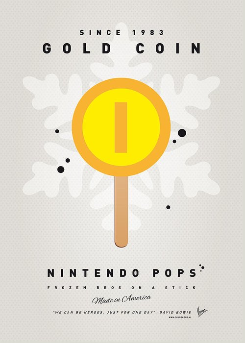 1 Up Greeting Card featuring the digital art My Nintendo Ice Pop - Gold Coin by Chungkong Art