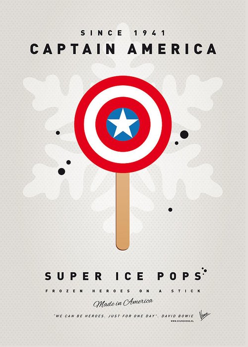 Superheroes Greeting Card featuring the digital art My Superhero Ice Pop - Captain America by Chungkong Art