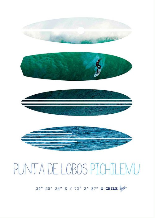 Minimal Greeting Card featuring the digital art My Surfspots Poster-3-punta De Lobos-chile by Chungkong Art