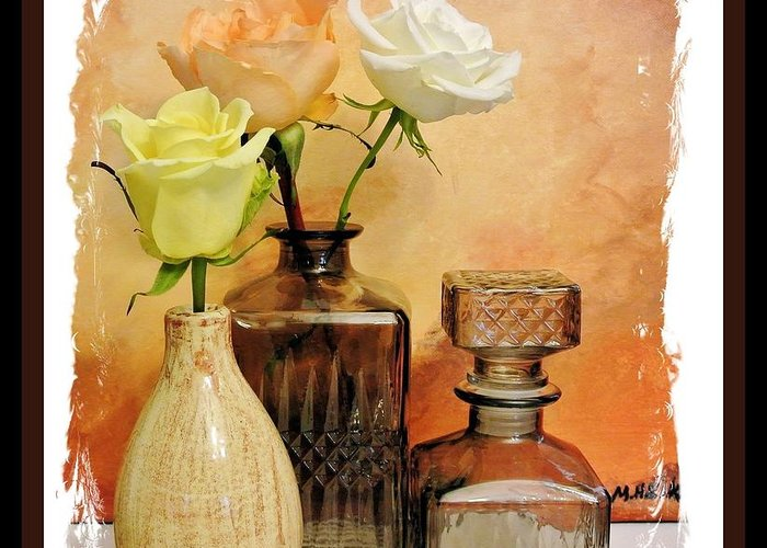 Photo Greeting Card featuring the photograph My Three Roses Still Life by Marsha Heiken