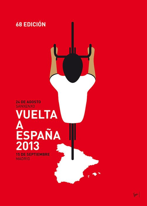 2013 Greeting Card featuring the digital art My Vuelta A Espana Minimal Poster - 2013 by Chungkong Art