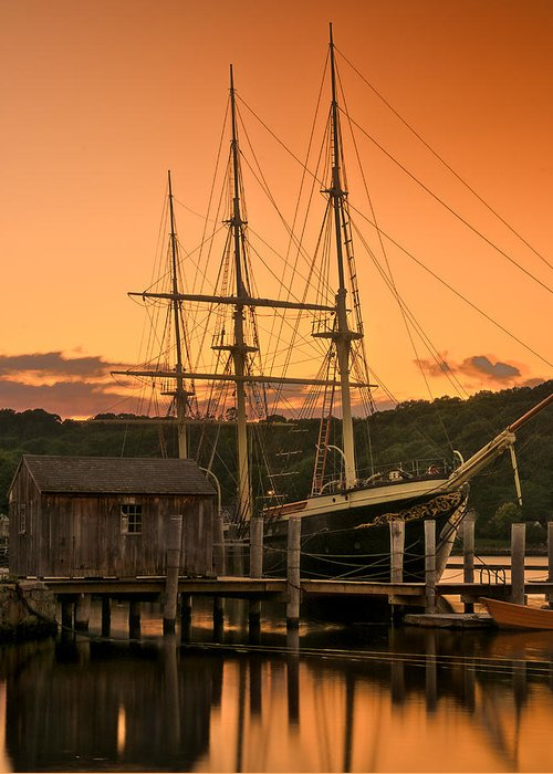 Shoreline Greeting Card featuring the photograph Mystic Seaport Sunset-joseph Conrad Tallship 1882 by Thomas Schoeller