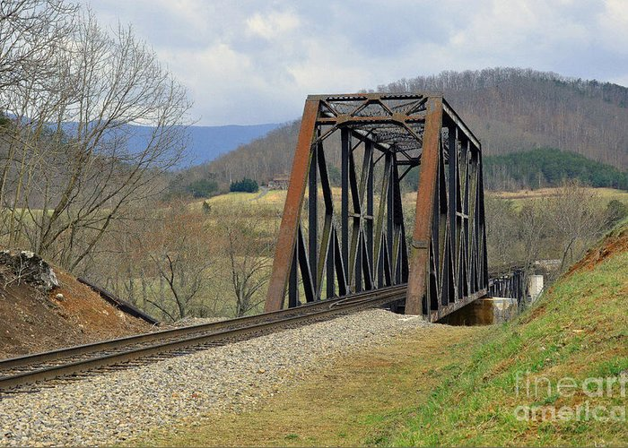 Tracks Greeting Card featuring the photograph N W Railroad Trestle by Brenda Dorman