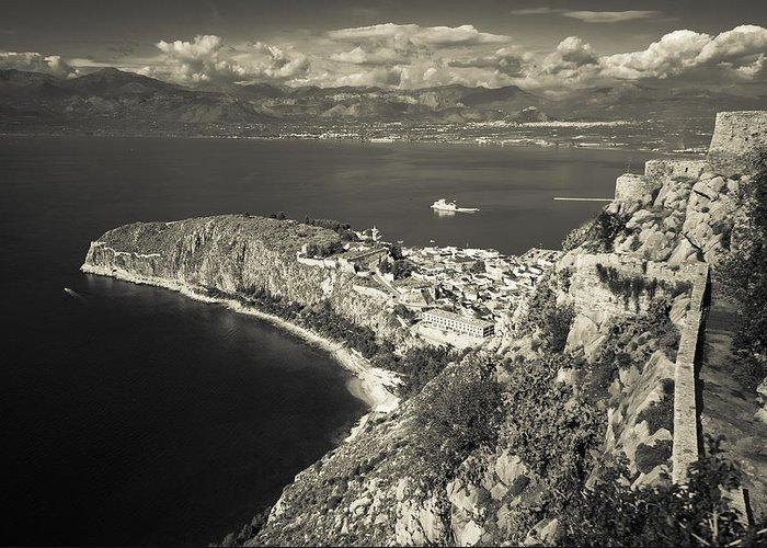 Nafplio Greeting Card featuring the photograph Nafplio Peninsula Sepia by David Waldo