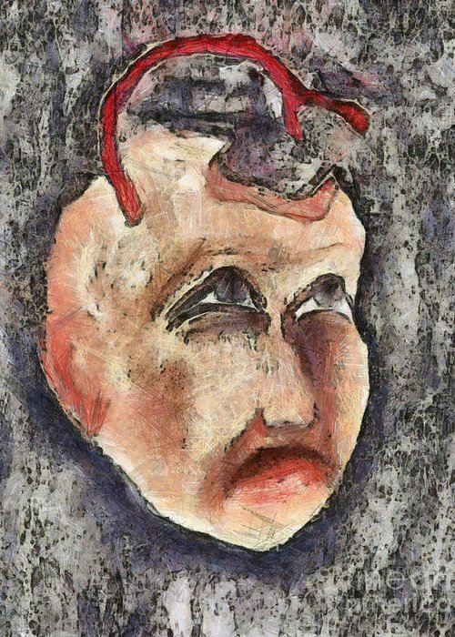 Question Greeting Card featuring the mixed media Nagging Doubts by Michal Boubin
