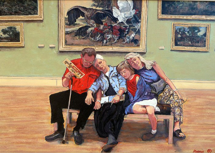 Family Portrait Greeting Card featuring the painting Nap Time At The Louvre by Tom Roderick