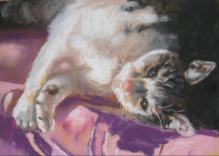 Cat Greeting Card featuring the pastel Nap Time For Kitty by Janice Harris